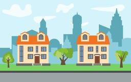在晴天导航有两个两层动画片房子和绿色树的城市 库存图片