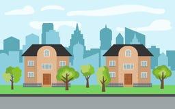 在晴天导航有两个两层动画片房子和绿色树的城市 免版税库存图片