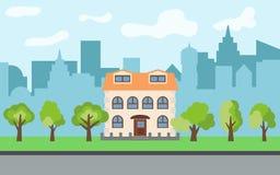 在晴天导航有两层动画片房子的城市和绿色树 库存图片