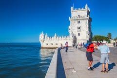 在晴天期间, Torre de贝拉母从公园的联合国科教文组织世界遗产名录景色 库存图片