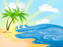 在晴天的海滩 免版税库存照片