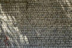 在晴朗的夏日艺术纹理的老砖墙 库存图片