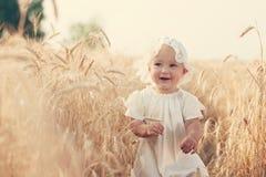 在晴朗的麦田的笑的孩子 免版税库存图片