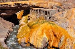 在智利和阿根廷之间的Gorgeous普恩特del Inca废墟 免版税库存照片
