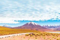 在智利的Altiplano的盐水湖Miscanti和火山利坎卡武尔火山 免版税库存图片