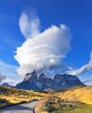 在智利巴塔哥尼亚的惊人的日落 免版税图库摄影