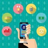 在智能手机屏幕上的流动开户的app 财政app,网路银行 手指屏幕涉及 也corel凹道例证向量 免版税图库摄影