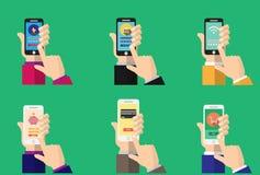 在智能手机屏幕上的流动开户的app 免版税库存图片