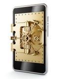 在智能手机屏幕上的金子有圆顶安全门 免版税库存图片