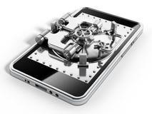 在智能手机屏幕上的银色有圆顶安全门 免版税库存照片