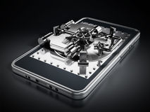 在智能手机屏幕上的银色有圆顶安全门 图库摄影