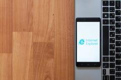 在智能手机屏幕上的Internet Explorer 免版税库存图片