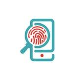 在智能手机屏幕传染媒介例证的指纹象 向量例证