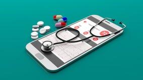 在智能手机的听诊器 3d例证 免版税库存图片