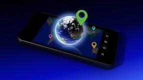 在智能手机的地球 免版税库存照片