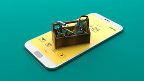 在智能手机的工具箱 3d例证 库存图片