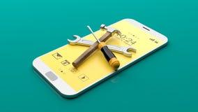 在智能手机的工具 3d例证 免版税库存图片
