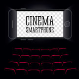 在智能手机的戏院 黑色背景 向量 库存图片