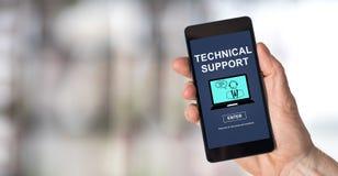 在智能手机的技术支持概念 库存照片