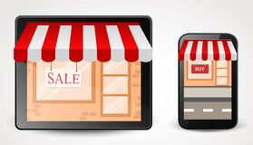 在智能手机的网上商店购物概念 免版税图库摄影