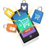 在智能手机的网上购物 库存照片