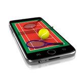 在智能手机的网球,体育App 库存照片