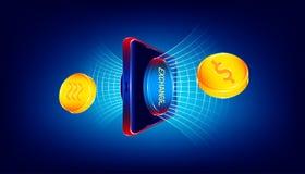 在智能手机的豪华交换按钮在美元和天秤座硬币金钱货币之间的调动的通过未来派全世界净管 皇族释放例证