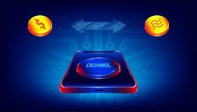 在智能手机的豪华交换按钮在美元和天秤座硬币金钱货币之间的调动的 电子线路印刷品 向量例证