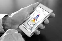 在智能手机的起始的概念 免版税库存照片