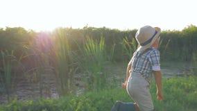 在暑假期间,连续儿童外部获得乐趣在日落靠近湖 股票视频