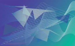 在暗区的发光的未来派五颜六色的线 库存例证