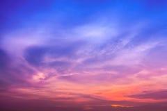 在暮色时间的天空 库存图片