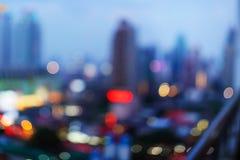 在暮色时间的曼谷都市风景 库存照片