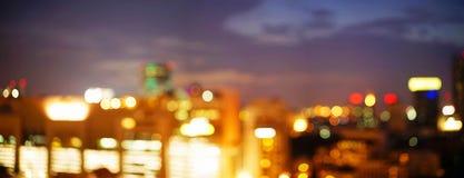 在暮色时间的曼谷都市风景 库存图片