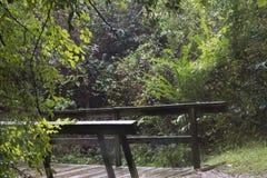 在暴雨期间的桥梁扶手栏杆 免版税库存图片