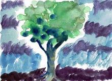 在暴雨水颜色绘画的绿色树 库存照片