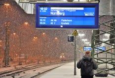 在暴雪秋天期间的等待的火车 免版税库存照片
