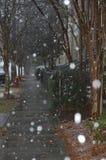 在暴风雪期间的一条俏丽的路 库存照片