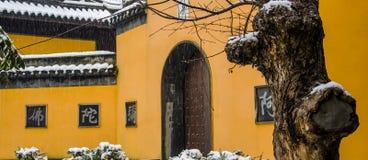 在暴风雪的寺庙 免版税图库摄影