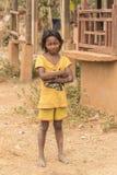 在暹粒附近的少年村庄女孩柬埔寨 免版税图库摄影