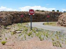 在曲线的警告交通标志 免版税库存图片