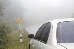 在曲线路的汽车 免版税图库摄影