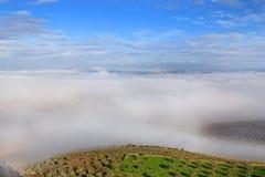 在更低的内盖夫加利利,拿撒勒,以色列使风景模糊 免版税库存图片