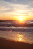 在曼哈顿比奇,半月湾,加利福尼亚的日落 图库摄影