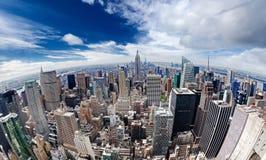 在曼哈顿纽约的一张鸟瞰图 免版税库存图片