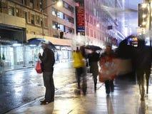 雨在城市曼哈顿 库存照片