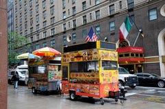 在曼哈顿NYC的希拉勒食物VANDOR 库存照片
