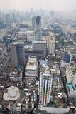 在曼谷市,泰国的空中纵向视图。 免版税图库摄影