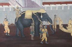 在曼谷玉佛寺的Ramayana绘画 图库摄影