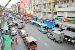 在曼谷视图街道上的虚荣从上面 库存照片